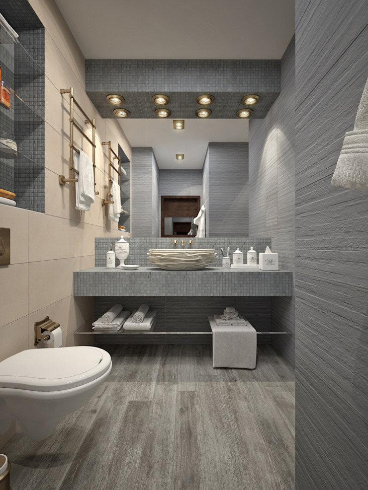 apartment with a splendid view on Moscow Modern Bathroom by Rubleva Design Modern