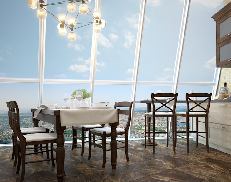 apartment with a splendid view on Moscow Modern Dining Room by Rubleva Design Modern