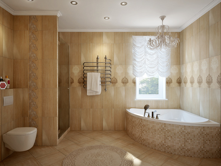 large apartment in classic style in Moscow Classic style bathroom by Rubleva Design Classic