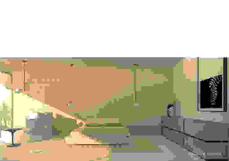 Estudo prévio para ampliação e design de interiores de moradia na praia de Wimby por Esfera de Imagens Lda