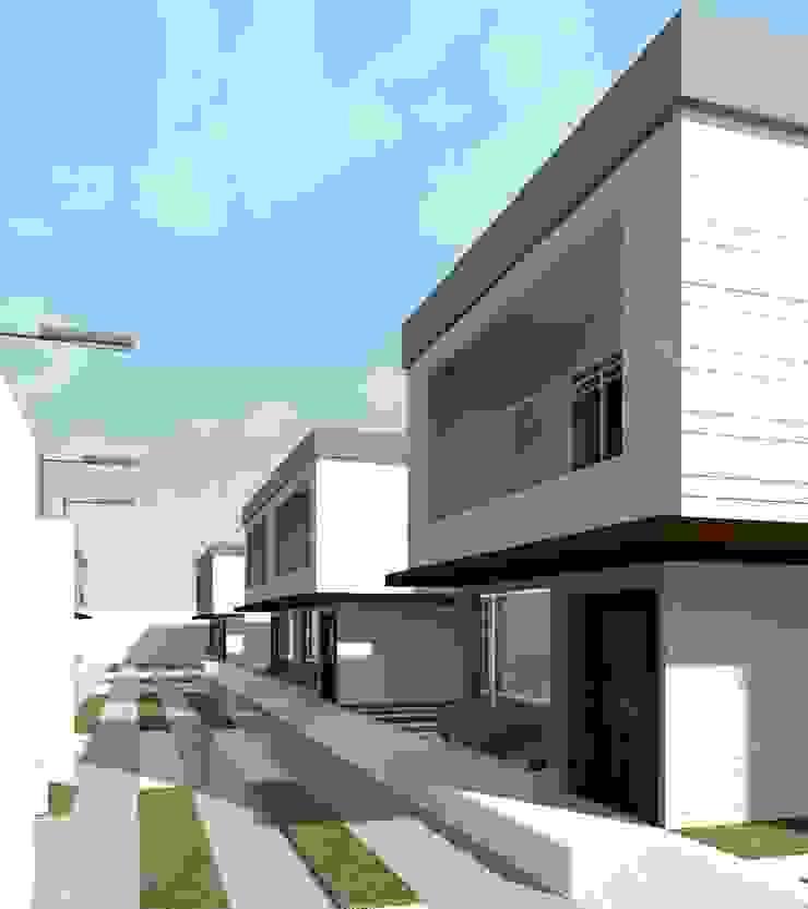 Vista diurna del conjunto (Lateral derecho) Diseño Store Casas de estilo minimalista Multicolor