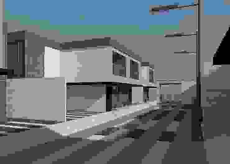 Vista diurna del conjunto (lateral izquierdo) Diseño Store Casas de estilo minimalista Multicolor