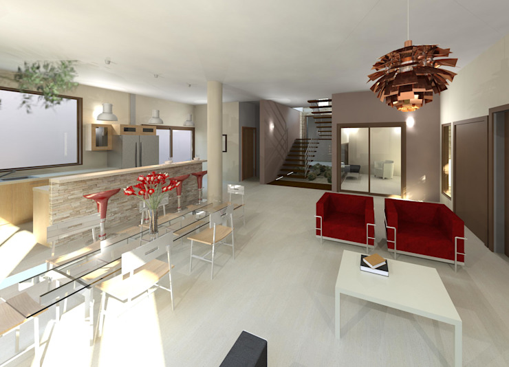 Vista interna integral Salas modernas de Diseño Store Moderno