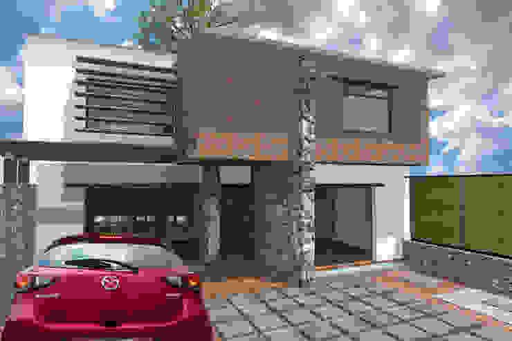 Eco-vivienda en Jiutepec Morelos, fachada Este Casas modernas de Habitaespacio Moderno