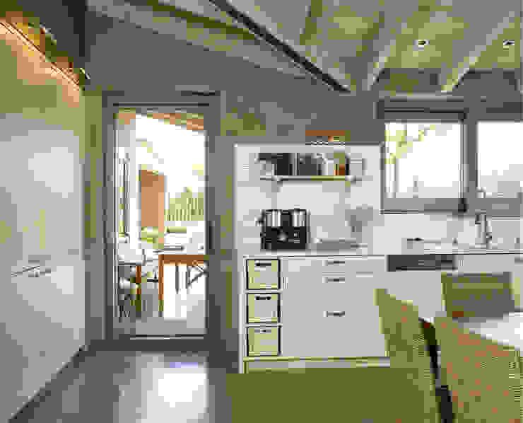 Salida al jardín Cocinas de estilo rústico de DEULONDER arquitectura domestica Rústico