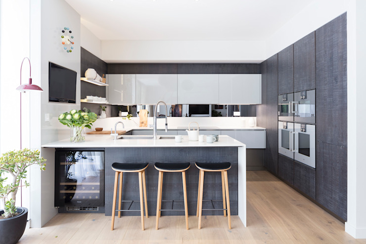 Modern New Home in Hampstead - kitchen bar モダンデザインの ダイニング の Black and Milk | Interior Design | London モダン