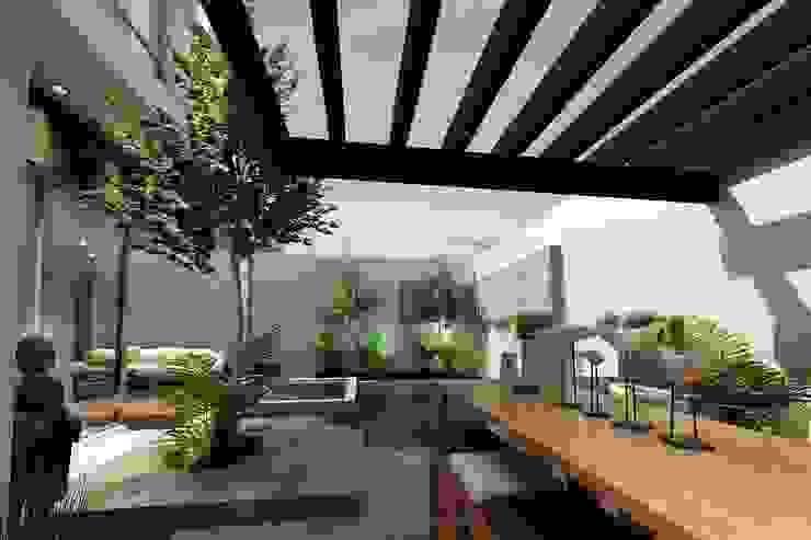 Jardín vista 1 Jardines modernos de Mstudio Arquitectura+Construccion Moderno