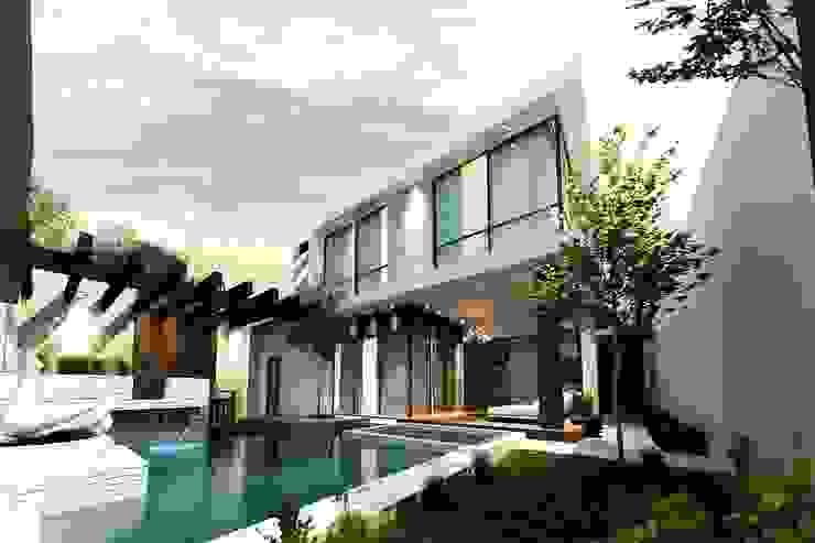 Jardín vista 2 Jardines modernos de Mstudio Arquitectura+Construccion Moderno