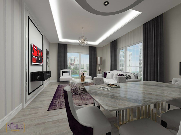现代客厅設計點子、靈感 & 圖片 根據 nihle iç mimarlık 現代風