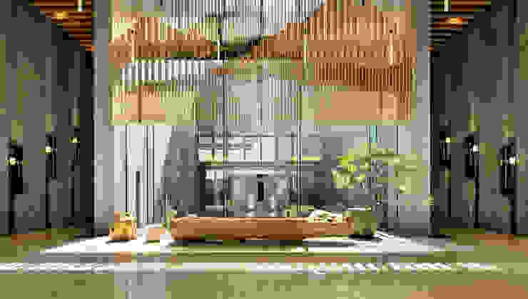 穿越水庭進入大廳的晨間日光: 現代  by Arcadian Design 冶鑄設計, 現代風