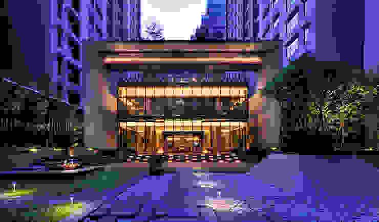 石材框架與玻璃帷幕量體組構而成之會館中庭向立面: 現代  by Arcadian Design 冶鑄設計, 現代風
