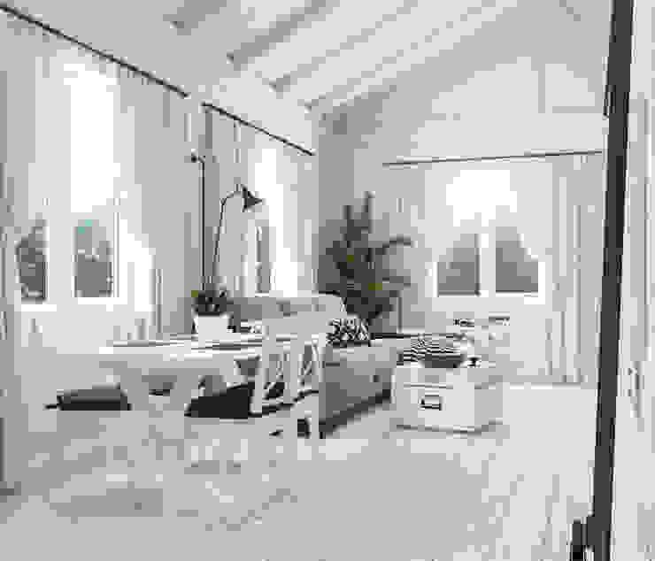 Salas / recibidores de estilo  por Home in the Woods