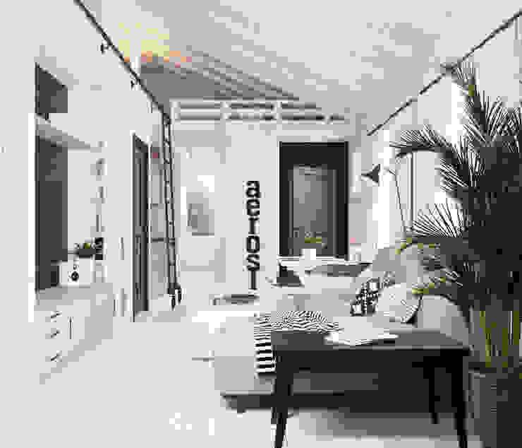Home in the Woods Ruang Keluarga Gaya Skandinavia Kayu White