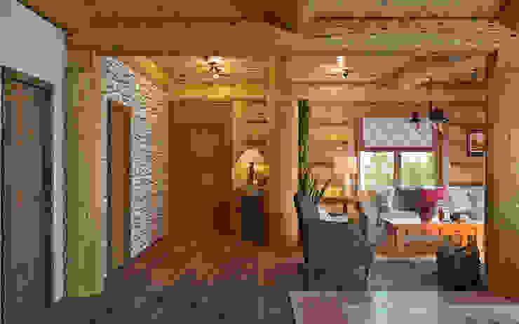 鄉村風格的走廊,走廊和樓梯 根據 rudakova.ru 田園風 木頭 Wood effect