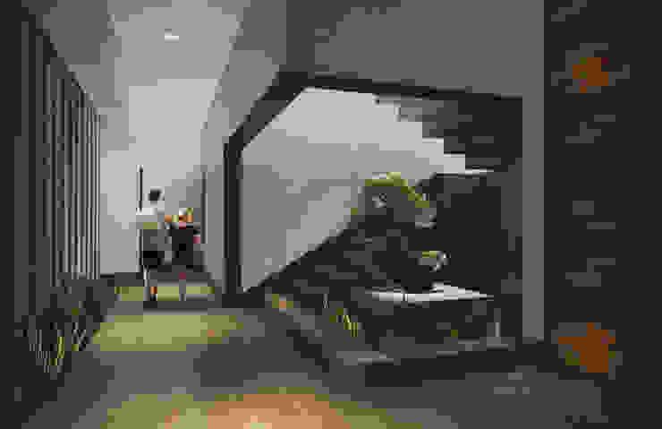 Acceso Pasillos, vestíbulos y escaleras modernos de Estudio Volante Moderno Mármol