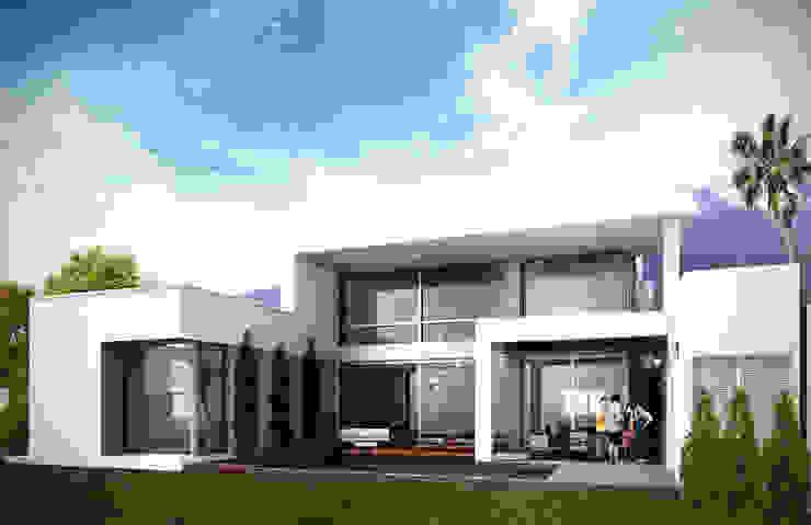 Fachada Trasera Casas modernas de Estudio Volante Moderno