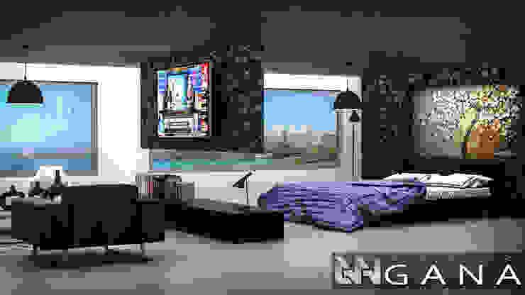 Grupo GANA, C.A. Modern style bedroom Concrete White