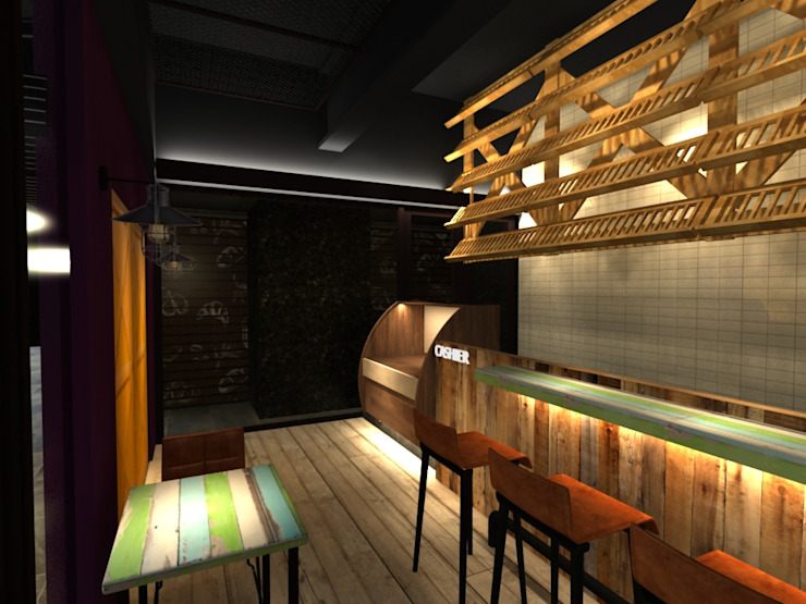Industrial style bars & clubs by 東之光室內裝修設計有限公司 Industrial Wood Wood effect