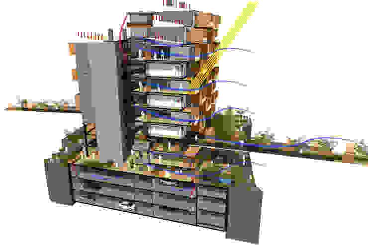 Sección Bioclimática Casas modernas de AbiOS Estudio de Arquitectura Moderno Concreto