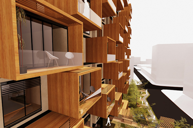 Nowoczesne domy od AbiOS Estudio de Arquitectura Nowoczesny Drewno O efekcie drewna