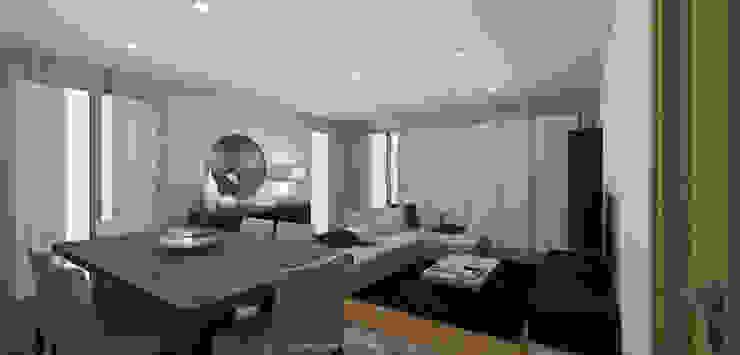 Black & Concrete Living Room Salas de jantar modernas por Sara Ribeiro - Arquitetura & Design de Interiores Moderno