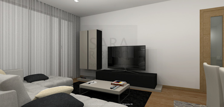 Black & Concrete Living Room por Sara Ribeiro - Arquitetura & Design de Interiores Moderno