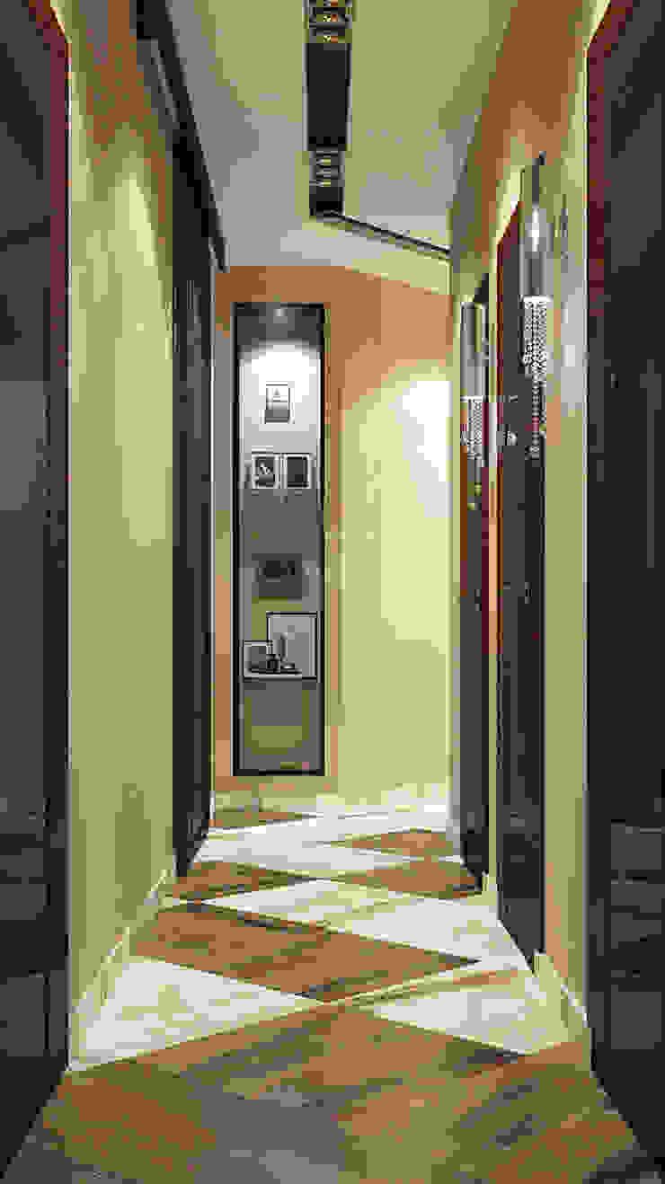 Vera Rybchenko Modern corridor, hallway & stairs Brown