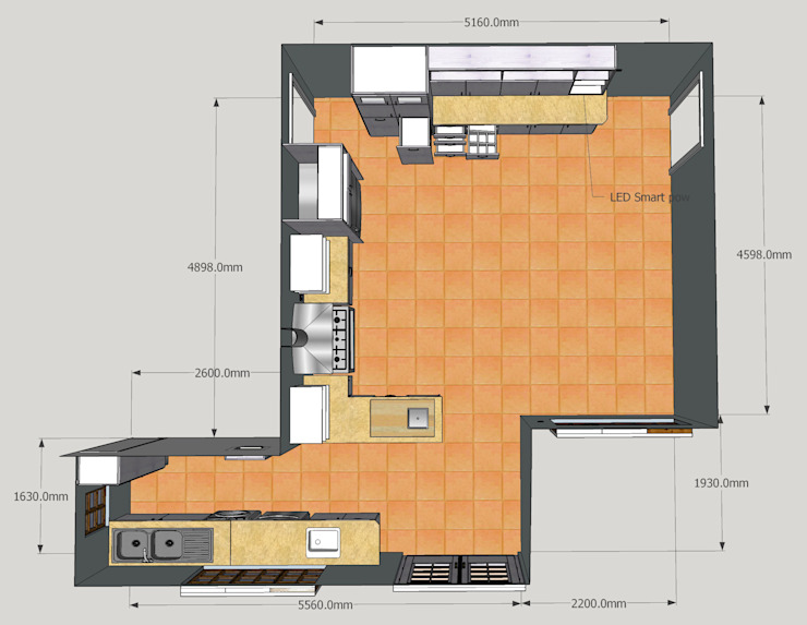 Planning: Floorplan for upgraded kitchen. by Boss Custom Kitchens (PTY)LTD