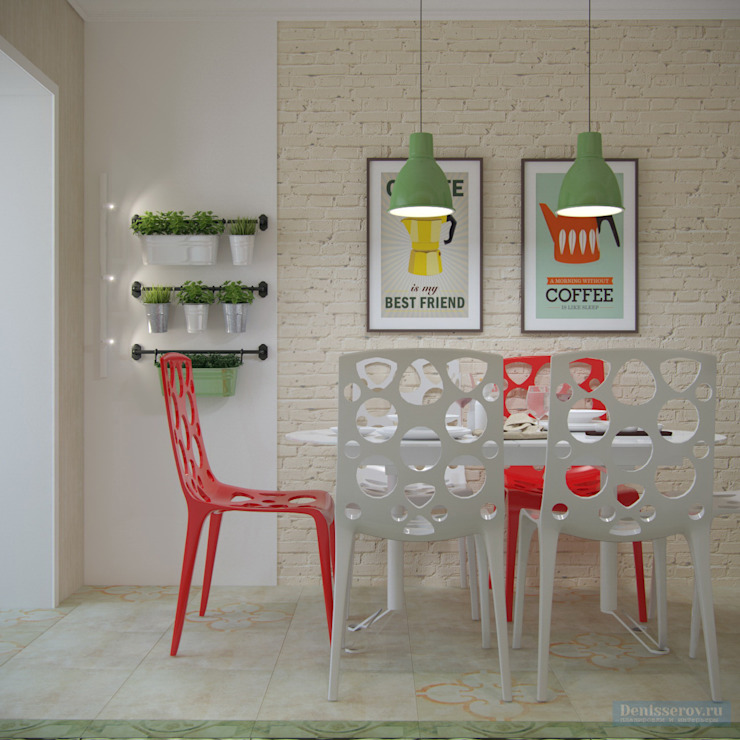 Scandinavian style dining room by Студия интерьера Дениса Серова Scandinavian