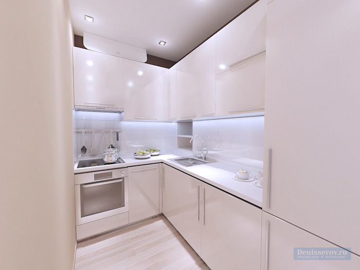 Дизайн кухни 6 кв метров Кухня в стиле модерн от Студия интерьера Дениса Серова Модерн