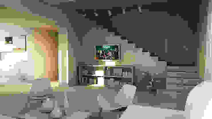 bram | openspace - soggiorno con vista su cavi in acciaio della scala Soggiorno minimalista di bram architetti Minimalista Cemento