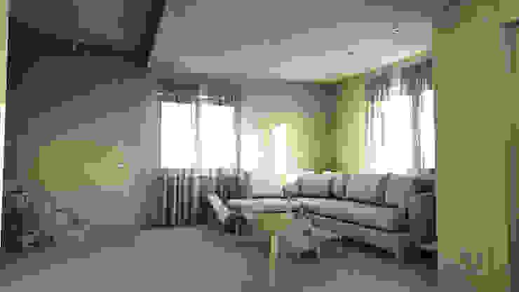 bram | openspace - vista sul salotto con controsoffitto e faretti incassati Soggiorno minimalista di bram architetti Minimalista Cemento