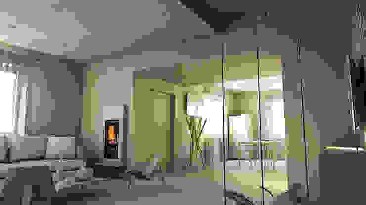 bram | openspace - vista sul corridoio di ingresso con controsoffitto ribassato Soggiorno minimalista di bram architetti Minimalista Cemento