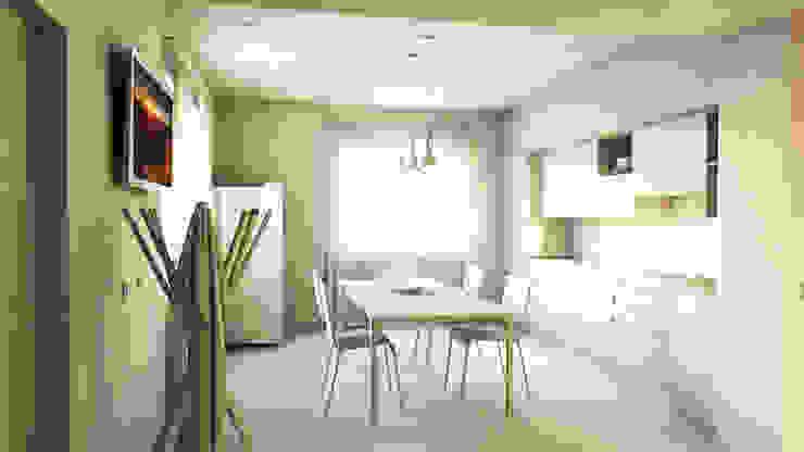 bram | openspace - vista su cucina e dettaglio lampade Foscarini Aplomb Cucina minimalista di bram architetti Minimalista Cemento