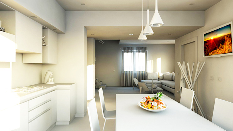 bram | openspace - vista su cucina verso salotto Cucina minimalista di bram architetti Minimalista Cemento