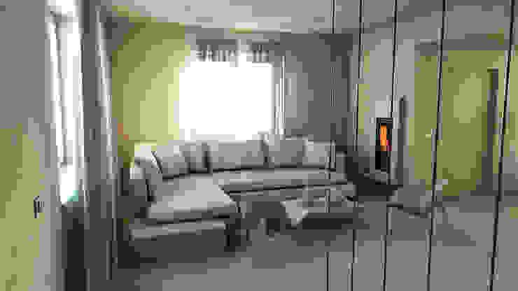 bram | openspace - vista salotto attraverso cavi d'acciaio Soggiorno minimalista di bram architetti Minimalista Cemento