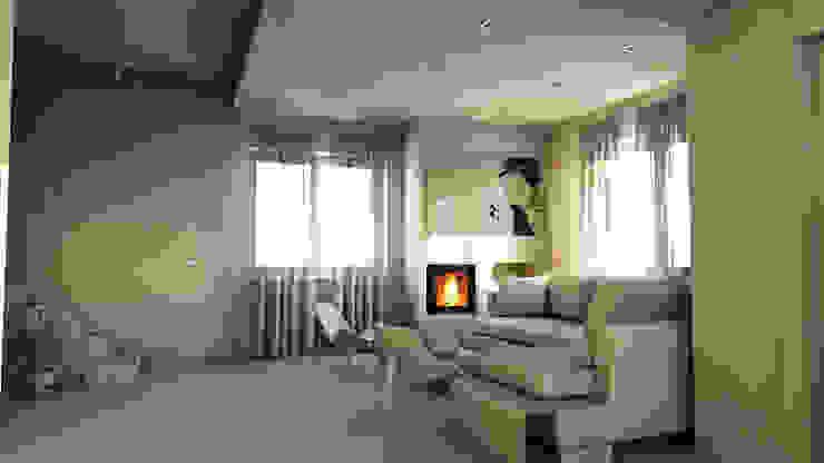 bram | openspace - variante salotto con stufa a pellet incassata Soggiorno minimalista di bram architetti Minimalista Cemento