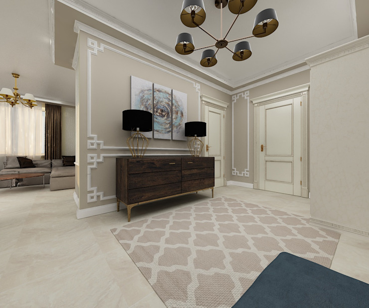 Dstudio.M Ingresso, Corridoio & Scale in stile classico Beige
