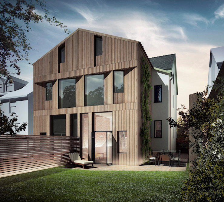 Rear elevation:  Houses by guy taylor associates, Modern Wood Wood effect