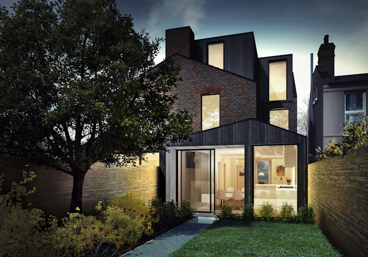 Rear elevation guy taylor associates Modern Houses Wood Black