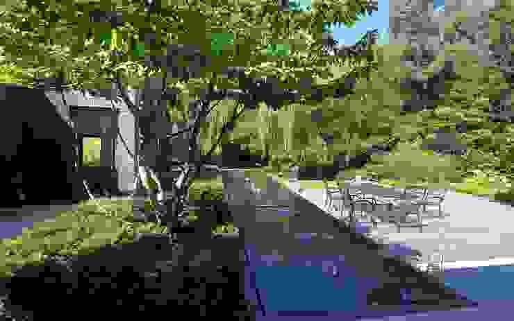 Strakke tuin tegen groene achtergrond Stoop Tuinen Moderne tuinen