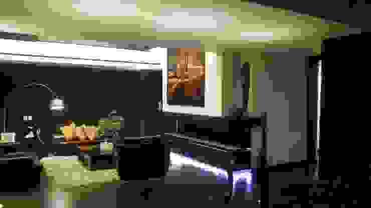 Perspectiva salon Salas modernas de homify Moderno Madera Acabado en madera