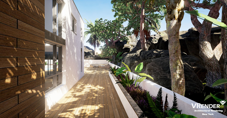 3D Exterior Visualization Tropical style houses by Vrender.com Tropical