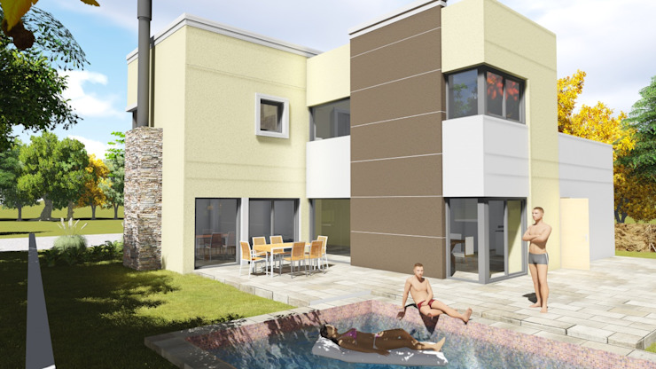 barrio Ayres de Santa Monica Casas modernas: Ideas, imágenes y decoración de Estudio de arquitectura MSM (Mar del Plata+Balcarce+Tandil) Moderno Piedra