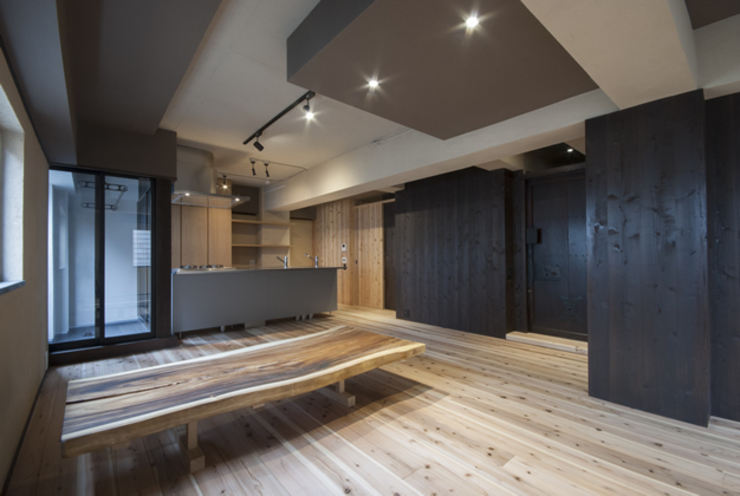 森村厚建築設計事務所 Living room Solid Wood Wood effect