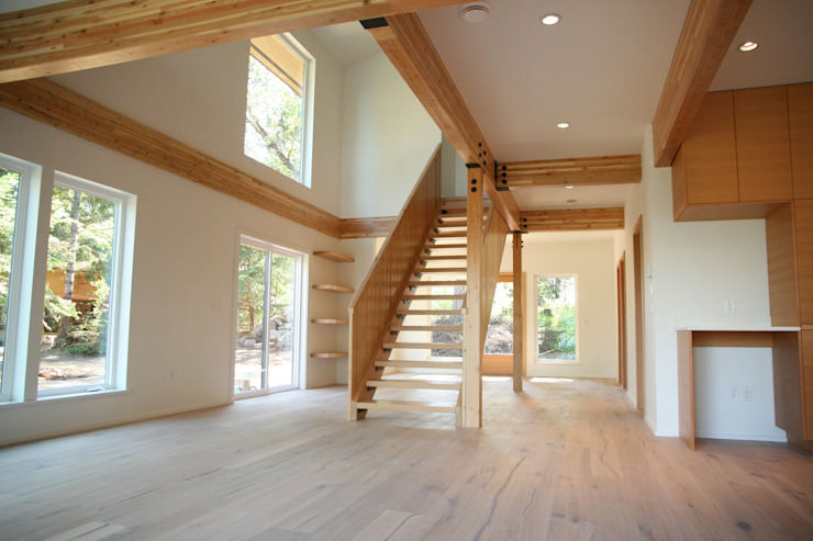 Modern style home with fir beams. Modern living room by Linwood Green Homes Modern Wood Wood effect