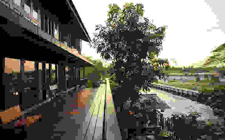 Balcon, Veranda & Terrasse ruraux par บริษัท สถาปนิกชุมชนและสิ่งแวดล้อม อาศรมศิลป์ จำกัด Rural Bois Effet bois