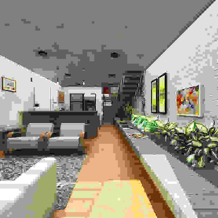 Salones rústicos de estilo rústico de CEU Arquitetos Rústico Ladrillos