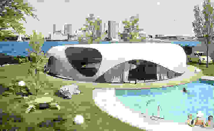 Energie-autarkisch villa in Almere Minimalistische huizen van OLA architecten Minimalistisch Gewapend beton