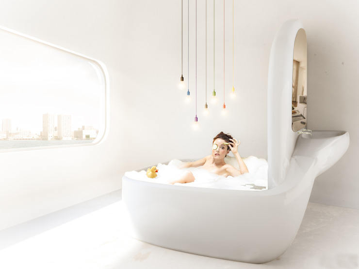 Organisch badkamer in energie-autarkisch villa, Almere Minimalistische badkamers van OLA architecten Minimalistisch Gewapend beton
